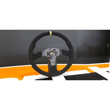 Universal steering wheel Yellow alcantara no offset OMP type