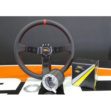 Universal steering wheel RED leather OMP type and HUB