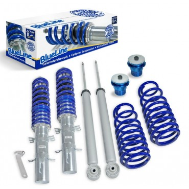 Coilover suspension kit, JOM BlueLine, Audi A3 8P 1.4TFSi/ 1.6/ 1.8TFSi/ 2.0/ 2.0T/ DSG/ 1.9TDi Ø 50/55 mm!! except Quattro, thread/spring Audi A3 8P 1.4TFSi/ 1.6/ 1.8TFSi/ 2.0/ 2.0T/ DSG/ 1.9TDi Ø 50/55 mm
