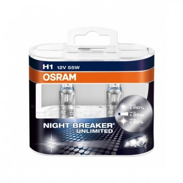 Par Lampadas Osram Night Breaker H1